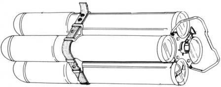 Clip of four M74 incendiary rockets for M202 FLASH grenade launcher / flamethrower (drawing).