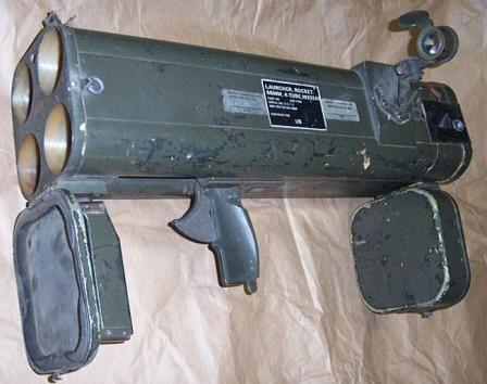 M202A1 FLASH grenade launcher less clip, with covers opened.
