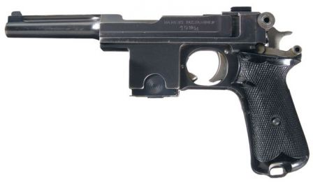 Bergmann model 1910/21 pistol, made in Belgium and later upgraded in Denmark.
