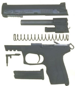 Arsenal P-M02 pistol, partially disassembled.