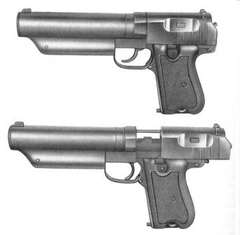 Type 64 silenced pistol; top, ready to fire; bottom, with the slide locked open after the last shot from magazine has been fired.