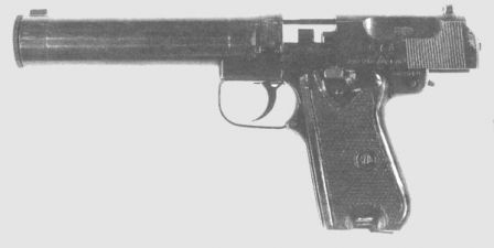Type 67 silenced pistol, bolt is locked open, the return spring guide rod is exposed above the barrel level.