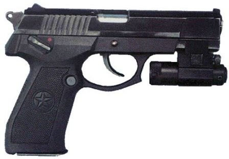 QSZ-92 pistol in 9x19mm, with laser pointer mounted on the rail under the barrel.