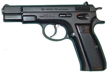 Original version of the CZ 75 pistol, easily distinguishable by the curved triggerguard and spurred hammer