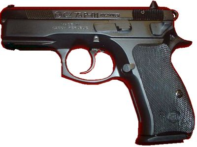 CZ 75 P-01, one of the most recent versions of the CZ 75, adopted by the Czech Police. Note the accessory rail under the barrel, compact frame, and a decoking lever instead of the safety.