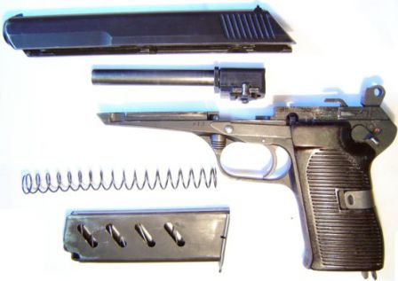 CZ-52 pistol, partially disassembled. Note locking rollers visible at the sides of the barrel.