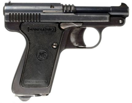 Manufrance Le Français pistol in 7.65mm Browning (.32ACP) caliber, model of 1950. Note that it has slide serrations and spent cartridge extractor, unlike all previous models