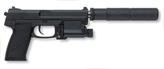 Mk.23 with silencer and laser aiming device.