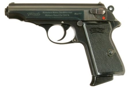 Early production Walther PP pistol with so-called 90-degree safety.