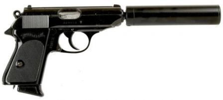 Walther PPK pistol fitted with silencer - a setup, closely associated with James Bond, agent 007.