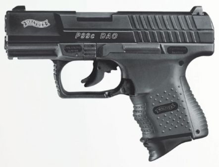 Walther P99 Compact DAO pistol, 2nd generation (note extended slide release lever, which is also duplicated on right side of the gun).
