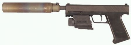 The same 2003 HK UCP prototype, with M6 tactical light / laser pointer mounted on the frame, and B&T suppressor.