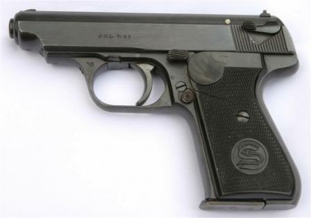 Sauer 38H pistol, left side. Note dual controls (safety on the slide and cocking/decocking lever on the frame).