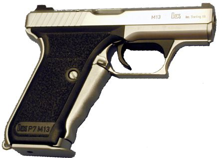 P7M13 pistol, with thicker grip frame to accept large capacity, double stack magazine.