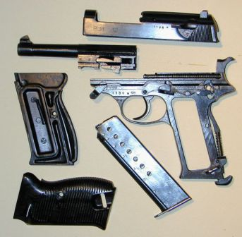 Walther P38 partially disassembled.