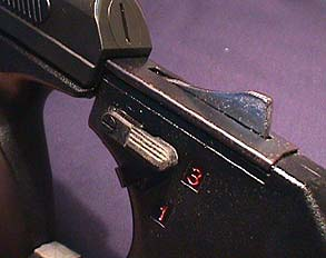 Сlose view on fire selector built into holster-stock of the VP 70M.