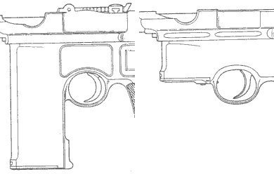 Mauser C-96 - early 20 rounds and 6 rounds non-removable magazines.