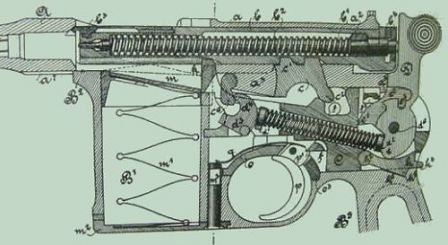 Mauser C-96 - early german drawing, showing internal action (bolt closed).