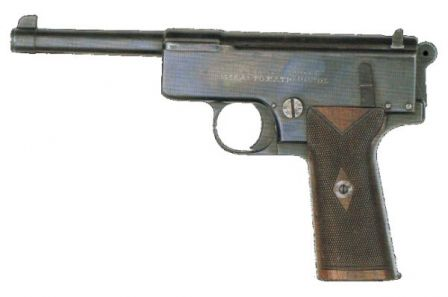 Experimental Webley Scott automatic pistol, cal. 455, model of 1904.
