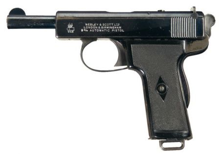 Webley Scott automatic pistol, cal.9mm Browning Long, model of 1909.