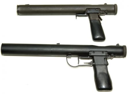two Welrod pistols, top earlier .32 caliber Mark II and bottom later 9mm Mark I.