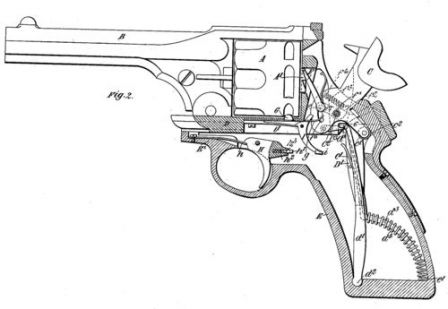 Diagram from the same patent, showing upper frame in recoiling position. Note that the gun in the picture uses different cylinder rotation mechanism when compared to production Webley-Fosbery guns.