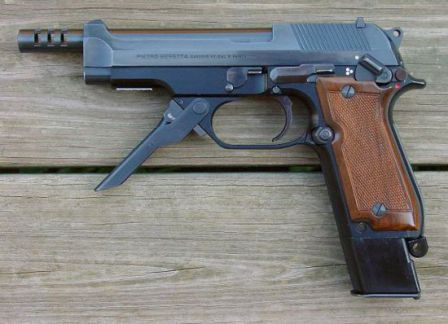 Beretta 93R pistol, left side, with front grip unfolded.
