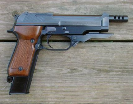 Beretta 93R pistol, right side view, with front grip folded.