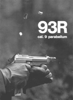 Promotional image from Beretta catalogue (possible 1980's vintage), showing the burst fire from Beretta 93R pistol; note three spent cartridges flying in the air.