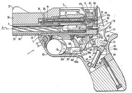 Drawing from original patent (US 4,712,466 to Emilio Ghisoni) which explains the basic design of Mateba Model 6 Unica auto-revolver