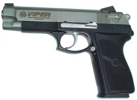 Viper pistol, left side view.