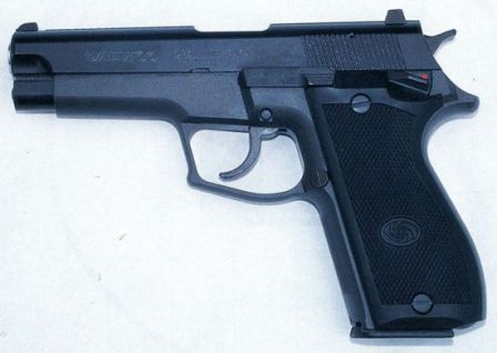 Daewoo DP-51 pistol, left side.