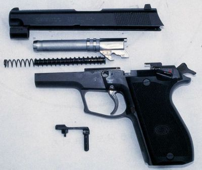 Daewoo DP-51 pistol, partially disassembled.