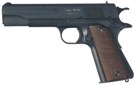 Obregon pistol, left side. Note characteristic single safety / slide stop lever.
