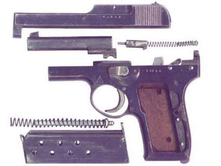 Korovin TK pistol, partially disassembled