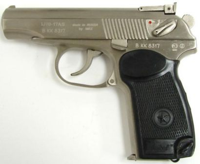 IJ70-17AS pistol, a commercial export-only version of Makarov PM pistol, caliber 9x17 (.380ACP); note adjustable rear sight necessary to pass US qualification for import.