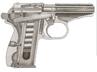 Pistolet Makarova (PM) cut out drawing