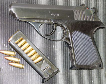 PSM pistol, earlier model with aluminum grip panels, left side