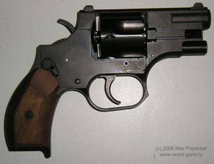OTs-38 revolver, right side. Hammer is lowered and safety is off.