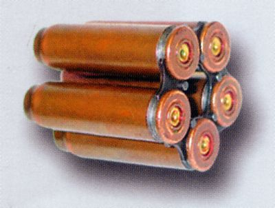 SP-4 silent ammunition loaded into 5-round OTs-38 flat clip