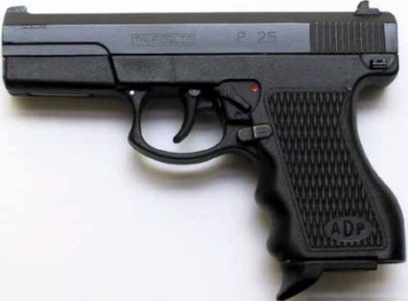 "ADP pistol, left side; note that pistol bears Italian ""Tanfoglio P 25"" markings on the slide."