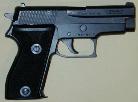 SIG-Sauer P225 pistol, right side.