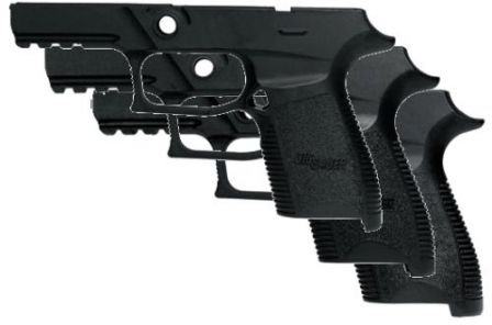 Three frame sizes for SIG-Sauer P250 Compact pistol, front to back: S (small), M (medium) and L (large) grip sizes.