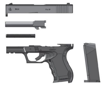 Akdal Ghost TR-01 pistol, partially disassembled