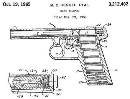Temel Gyrojet silahın tasarımı ve roket mühimmat açıklayan Patent şeması