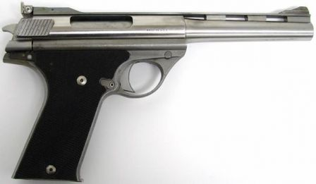Early production Auto Mag model 180 pistol, caliber .44AMP, right side
