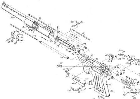 Orijinal patent çizim Oto Mag tabancanın temel tasarım görüntüler (ABD 3.780.618 25 Ara 1973 tarihinde Harry Sanford verilen)