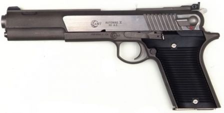 AMT Automag V pistol, caliber .50AE, left side