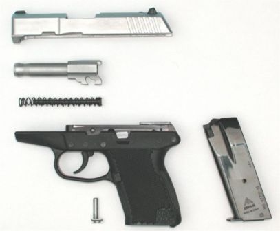 Kel-tec P-11 pistol, partially disassembled
