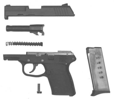 Kel-tec PF-9 tabanca, kısmen demonte